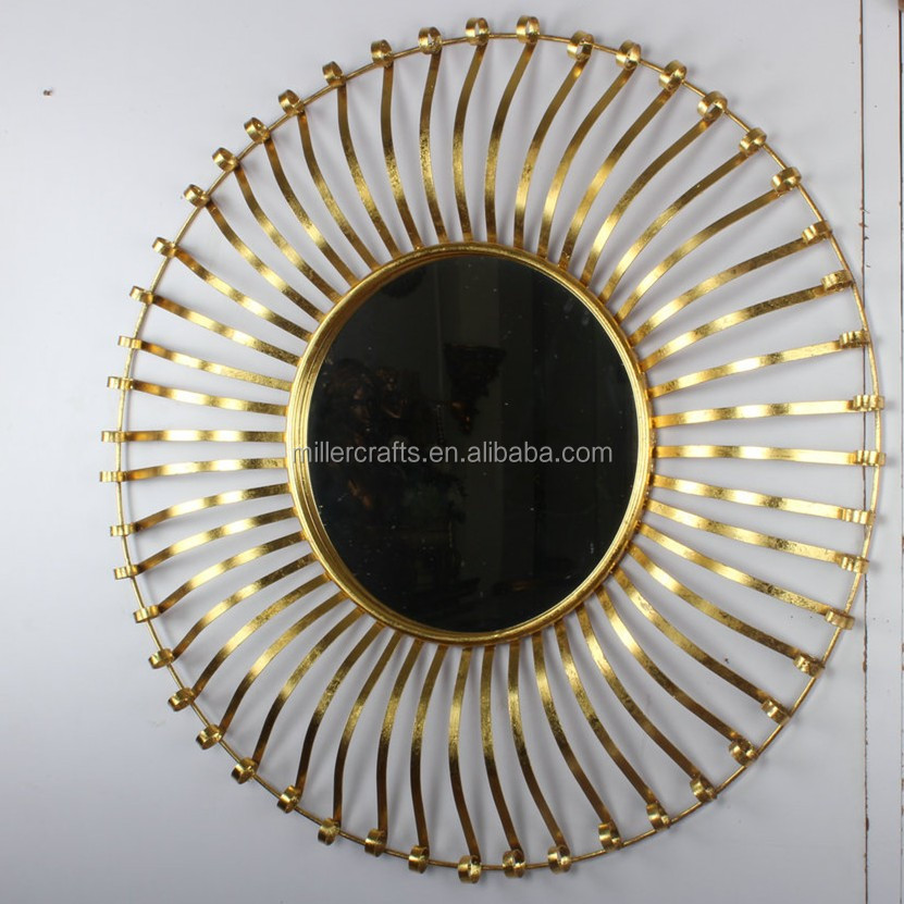 Round Shaped Decorative Metal Frame Mirrors For Wall Arts