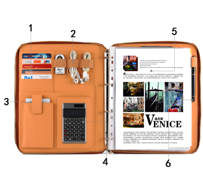 a5 size leather notebook with calculator for office use/leather bound notebook/
