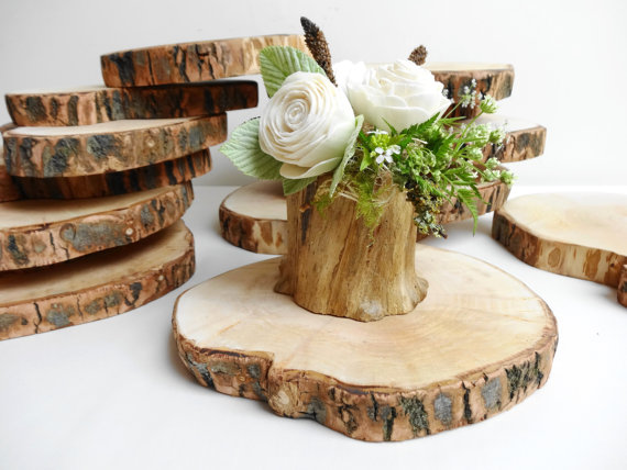 wholesale Customized decorative thin round natural wooden slice
