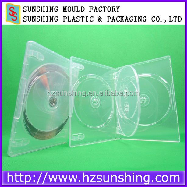 Super Clear 4 DVD CASE with tray,Wholesale Plastic Quad DVD Case