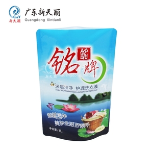 Household PE material washing liquid packaging stand up plastic laundry detergent bag