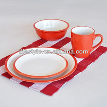 16pcs two tone solid color dinnerware set