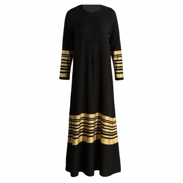New Women Muslim Maxi Dress Stripes Zipper Long Sleeves Abaya Kaftan Islamic Robe Long Dress Orange/Black/Dark Blue