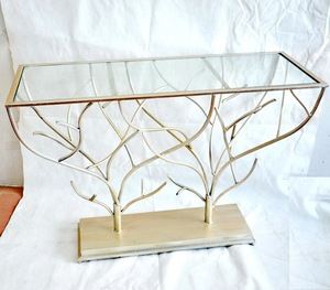 living room glass top Mirror Console Table