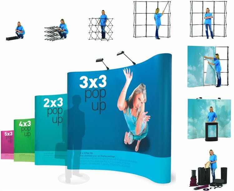 Adjustable Aluminum Fabric pop up display