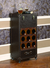 X022 cuero Antiguo Gabinete del vino Vino <span class=keywords><strong>decorativo</strong></span> antiguo mueble bar de vino