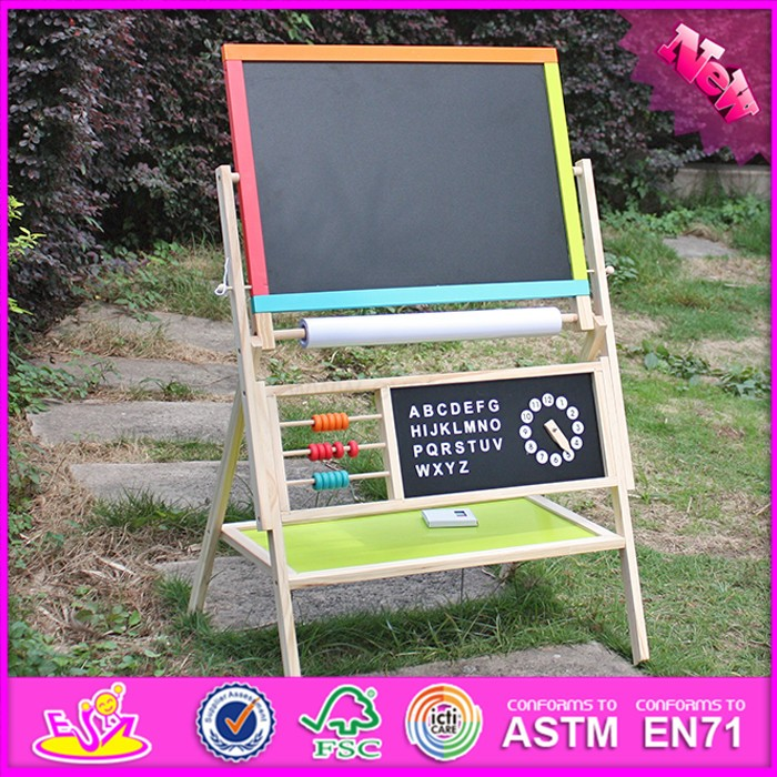 2016 new design double-sided children wooden adjustable drawing board W12B103