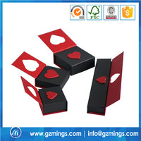 luxury paper cardboard die cut heart shape black and red jewelry box