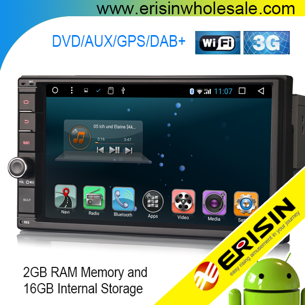 "Erisin ES5270U 7"" Android 6.0.1 Universal 1 Din Car DVD Player GPS Navigation DAB+ DVR System WiFi 3G OBD USB SD RDS"