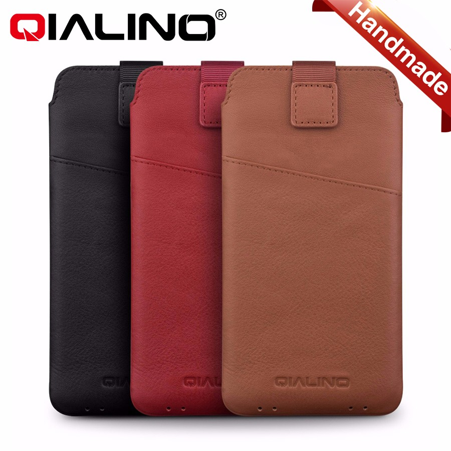 QIALINO Original Slim Soft Genuine Leather With Pull Strap Card Holder Pouch Case brown For iPhone 7 /7 Plus