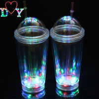 Hot sale flashing led plastic drinking cups with straws for Party Live House/Vocal Concert/Bar /DJ/Disco/Club