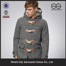New Arrival Winter Fashion Fleece Hooded Grey Wool Blend Mens Duffle Coat