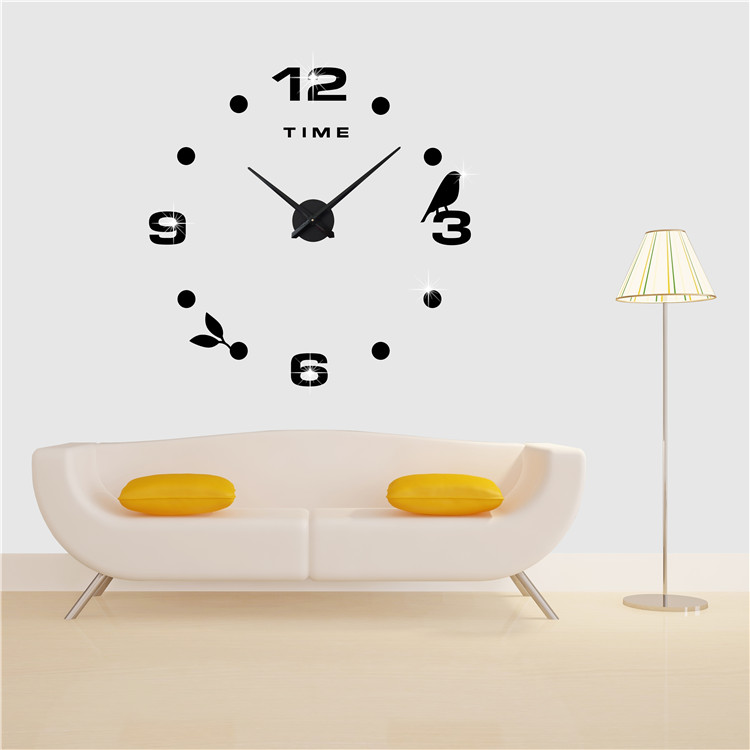 Decorative Wall Hanging Mirror Clock Frameless 3D DIY Wall Clock