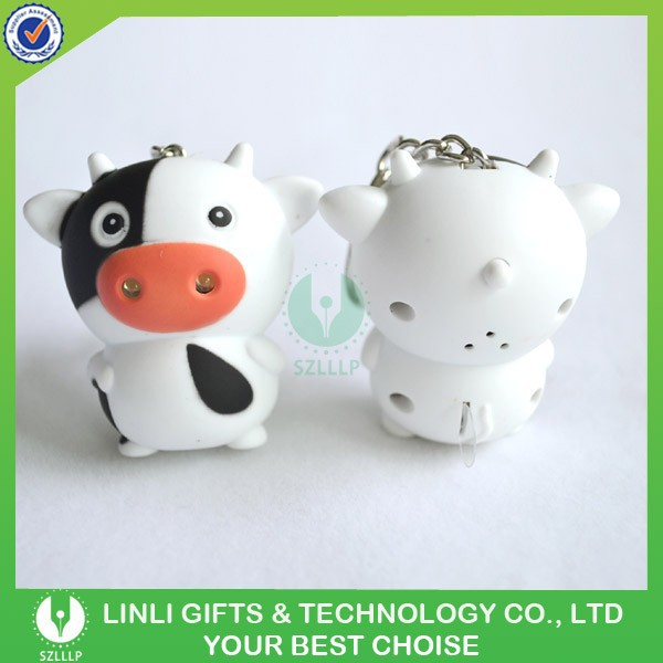 Cheap Plastic 3D Live Led Animal Keychain With Sound