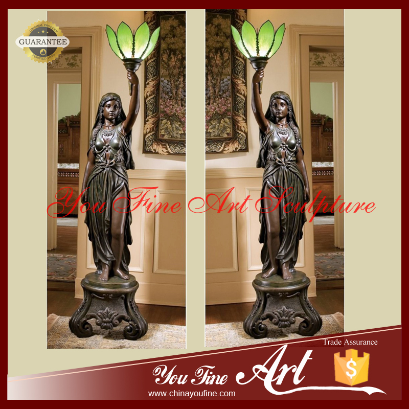 Outdoor Bronze Lady Sculpture Lamps For Sale