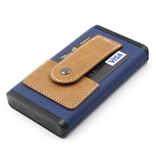 QC3.0 Dual USB Leather Power Bank, 10000mAh Portable Battery Charger, Blue PU Leather Power Bank