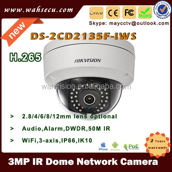 H.265 Outdoor Waterproof Full HD 3 Megapixel Security CCTV Network IR Dome IP Camera support WiFi Audio DS-2CD2135F-IWS