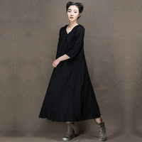Jiqiuguer original design elegant maxi three quarter sleeve wool one piece dress latest