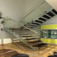304 Stainless Steel Structural With Wooden Steps Design Indoor Modern Stairs