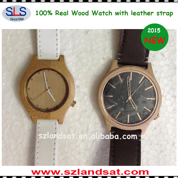 2016 natural wood watches with genuine leather strap band BW0003M