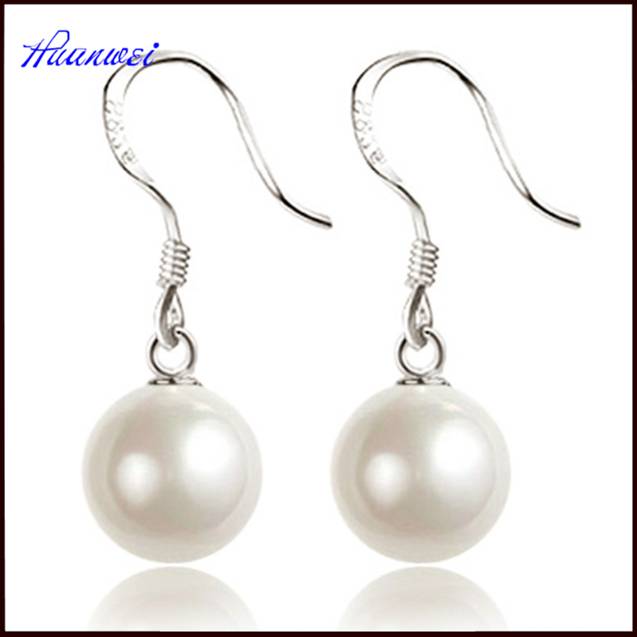 fashion jewelry women dangler 925 sterling silver pearl earrings