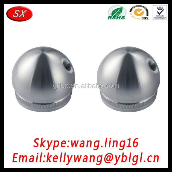 AISI304 AISI316 Stainless Steel M8 Thread Pipe Fittings Half Ball Flat End Cap for Balustrade