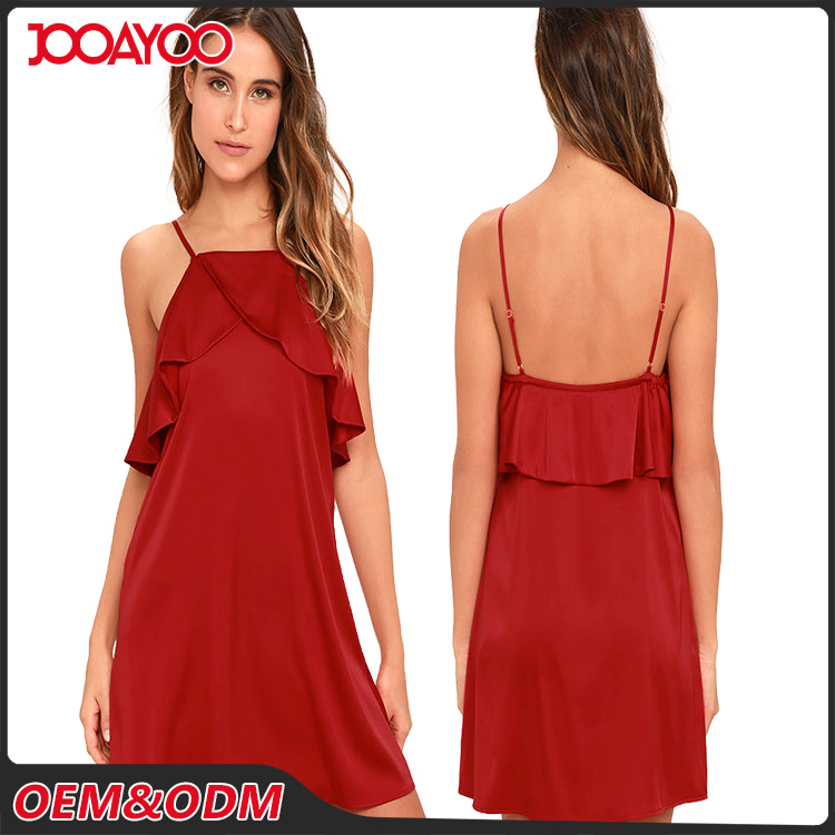 Brand Pretty Hot Sex Woman Red Ruffled Collar Slip Halter Dress Satin Short Casual Dress