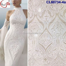 CL60734 Hot sell fashion design french embroidery lace with sequinse and wholesale white wedding veil lace fabric