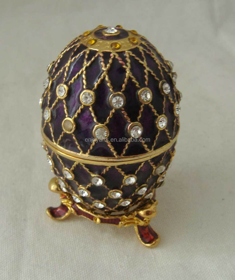 Purple Enamel Crystals Jeweled Faberge Egg Metal Trinket Box(P05075d)