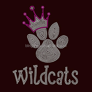 Crowned Paw Wild cat Iron On Rhinestone Motif