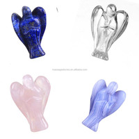 Lapis lazuli / clear crystal/ rose quartz carved angel wholesale
