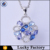 Unique design metal silver plated colorful zircon flowers pendant