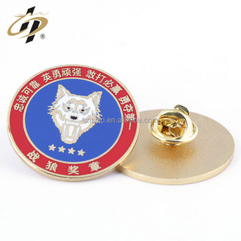 Custom metal military logos hard enamel gold lapel pin
