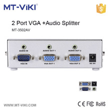 MT-3502AV 2 port vga video splitter with audio 350MHZ 1920*1440 vga video splitter DDC function vga splitter
