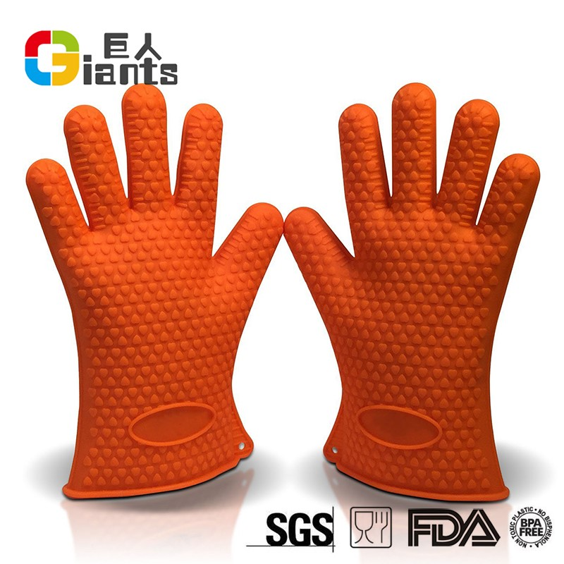 hot selling FDA&LFGB silicon glove for oven/kitchen with five finger tips