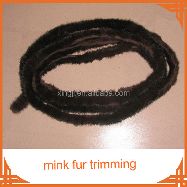 natural white color mink fur tail Mink fur trim for jacket