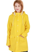 PU fashion women yellow raincoat for sale