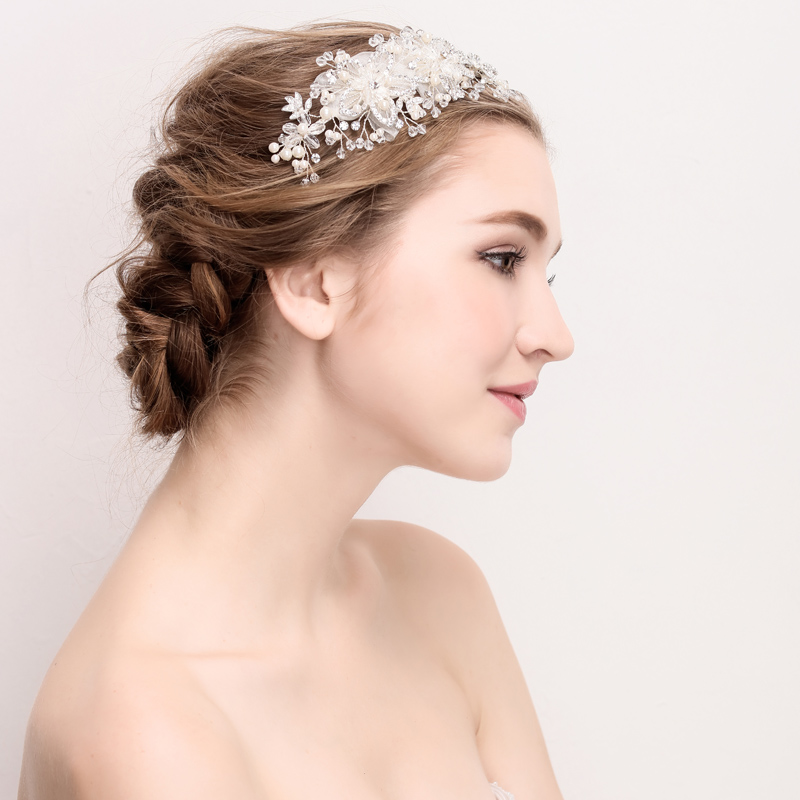 Factory New Chic Handmade Bridal Tiaras Pearl And Rhinestone Decoration Wedding Hair Crown Women Accessories