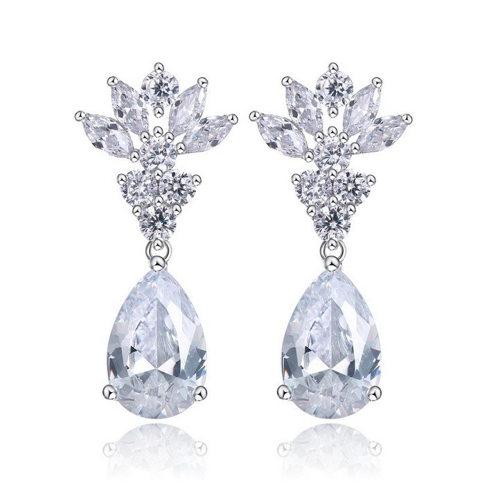 Alibaba SJ Big Promotion for Lady Accessory E10047 Fascinating Simulated Diamond White CZ Brass Rhodium Plated Drop Earrings