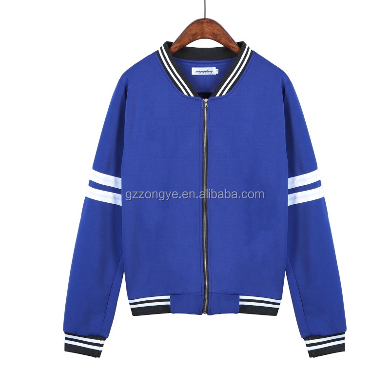 Latest sporting style white and blue stiped baseball ladies jackets