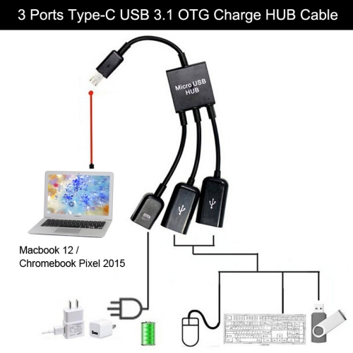 China Wholesale 3 Ports USB 3.1 Type-C OTG Charge HUB Cable for Macbook 12 / Chromebook Pixel 2015, Length: 17.8cm