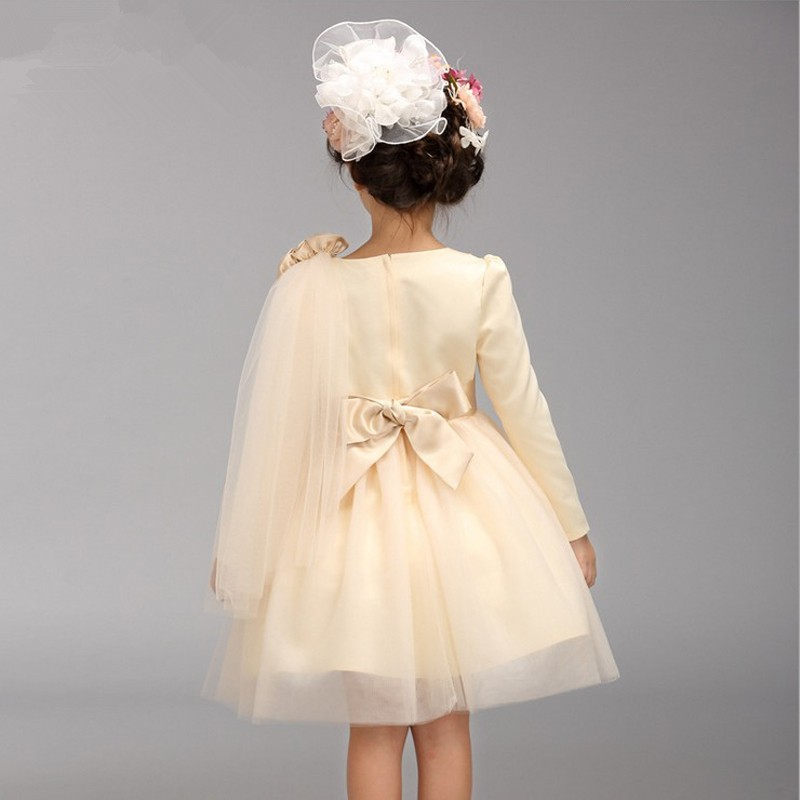 Children's product wedding dress Large bow kids girls dresses chest floating yarn dress Champagne long-sleeved dress