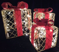 MESH GIFT BOXES 3 BOXES CHRISTMAS/PARTY PROP Cool Garden Yard Village Decor Light Led