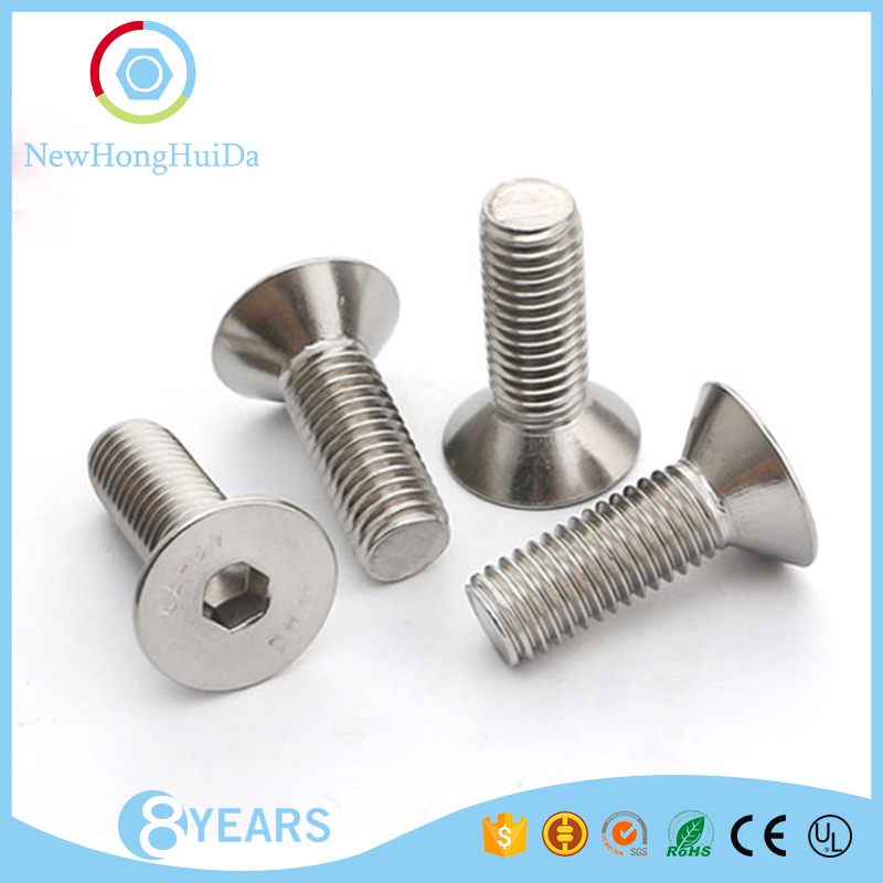 SS 304 Stainless Steel Din7991 Countersunk Hex Flat Head Socket Machine Screws Csk Head Allen Bolt