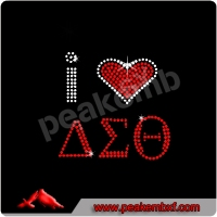 Bling Rhinestone I love Delta Sigma Theta Heat Transfer Hot Sale