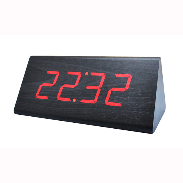 Zogift New Arrival Hot Sales Modern triangle Colorful Wooden Bamboo Digital Single Face Thermometer Led Alarm Clock