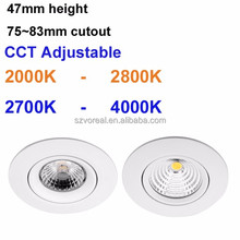 colour switchable warm dim dimmable cob downlight 8W 13W CCT Adjustable 2000-2800k