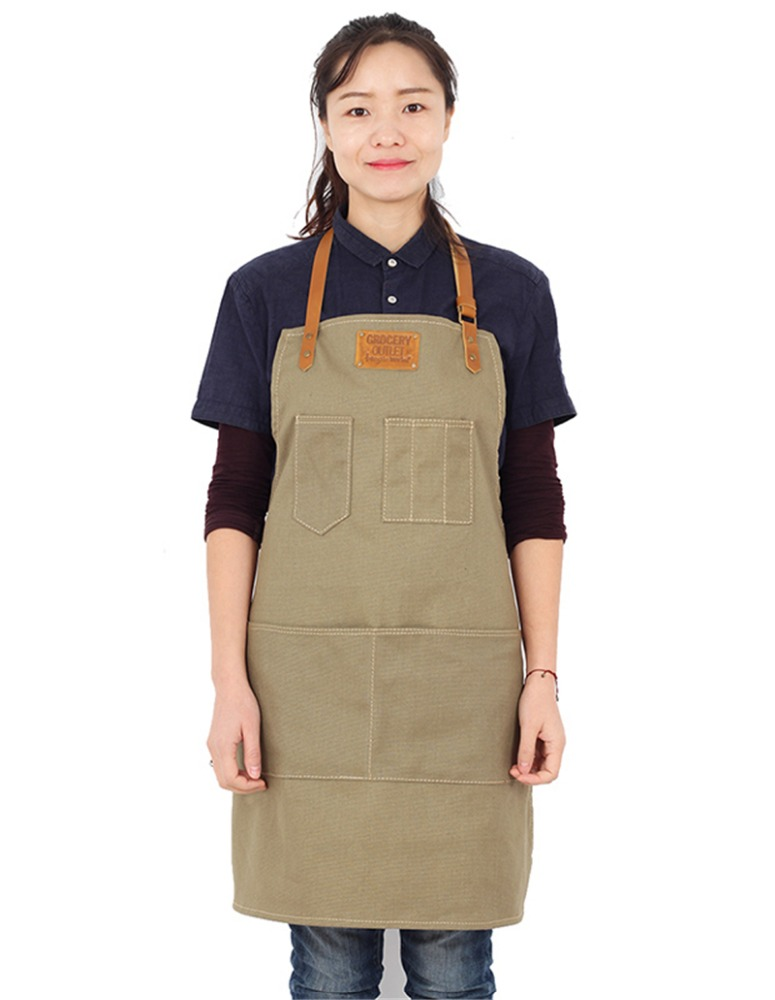 Senior Canvas Khaki Apron Bib Leather Straps Kitchen Apron for Women Men House cooking Restaurant Waitress Custom Print Logo BBQ