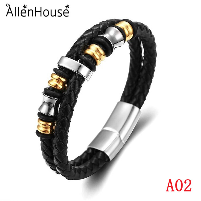 2017 Fashion Gold Plated Genuine Leather Bracelet For Men
