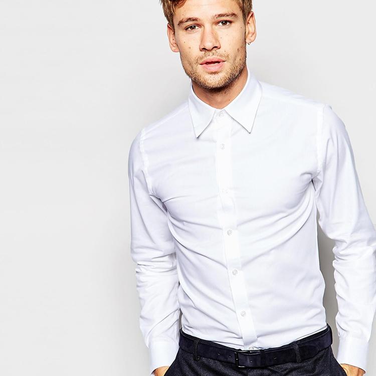 Mens slim fit white formal shirt uniform dress shirt buy for Trim fit tuxedo shirt